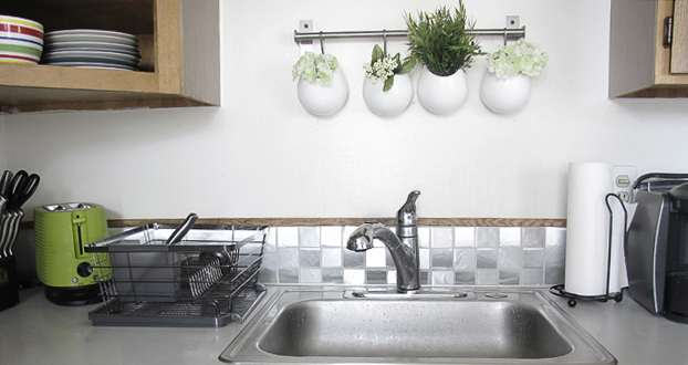 contact paper tile backsplash | mox & fodder