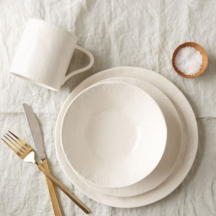 I personally like the texture on the West Elm version a little bit more. The photo below captures the simplicity of the West Elm set. Itu0027s very subtle. & The Look for Less: West Elm Textured Dinnerware | mox u0026 fodder